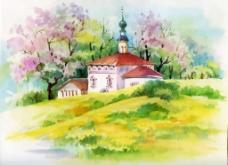 水彩绘自然风景插画