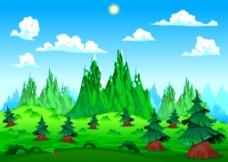 绿色清新森林插画