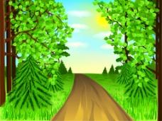 树林里的小路插画