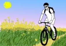 背书包骑自行车的人