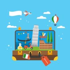 创意意大利旅行插画