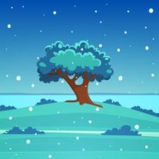 冬天里的大树插画