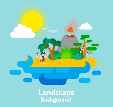 创意孤岛火山风景矢量