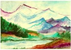 美丽的大山风景插画