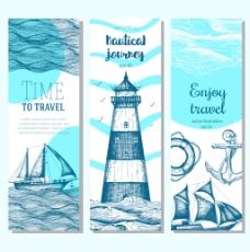 海面上的帆船和灯塔插画