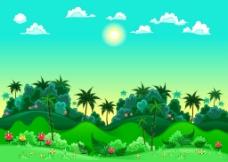 美丽绿色的田野插画
