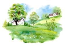水彩绘清新大自然插画