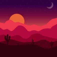 沙漠里的落日风景插画