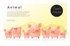 一群卡通可爱的小猪