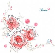 清新水彩绘玫瑰花插画