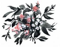 水墨花束花朵水彩手绘矢量文件