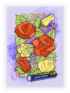 水彩绘浪漫花朵插画