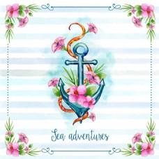 唯美手绘水彩花卉花朵海盗风格插画