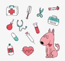粉色宠物狗和12款宠物用品矢量