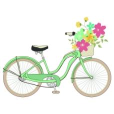 绿色浪漫脚踏车夏季小清新矢量素材
