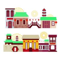 古代街道建筑房屋矢量素材