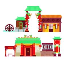 古代陈楼建筑房屋矢量素材