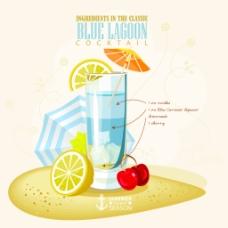 夏天清凉的冰柠檬水插画