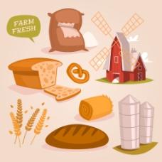 面包工厂元素插画