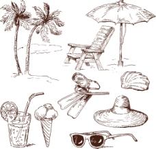 手绘沙滩用品插画