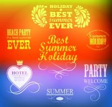 夏日度假logo文字矢量素材