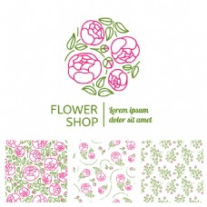 时尚线条花朵背景