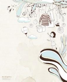 矢量卡通韩国时尚图案