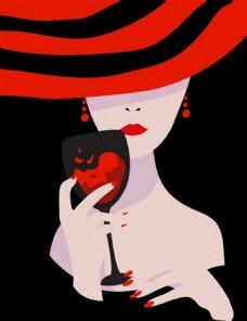 美女红酒背景素材