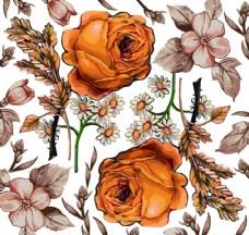 黄色手绘玫瑰花背景