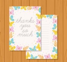 彩色蝴蝶装饰感恩卡片矢量素材
