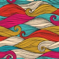 二款线条波形无缝图案
