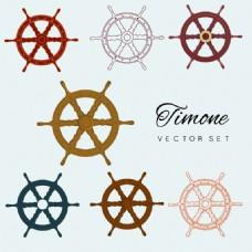 多种形式船轮图标