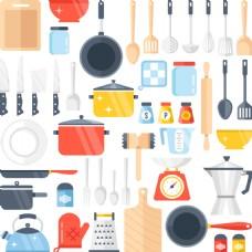卡通厨房用品插画