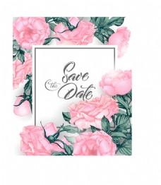 手绘唯美粉色玫瑰花背景