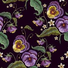 紫色刺绣花纹背景