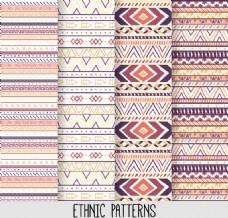 4款彩色部落民族花纹无缝背景