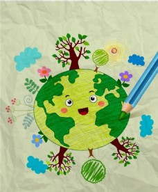 地球日手绘广告背景