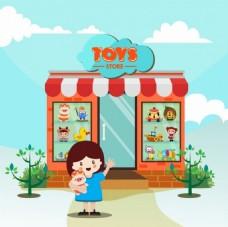 儿童玩具店矢量背景
