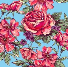水彩绘玫瑰花背景
