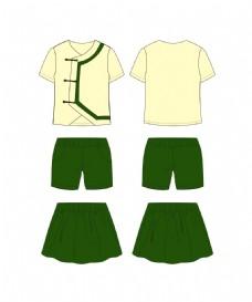 夏装国学盘扣礼服童装套装服装设计款式图