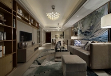 现代简约客厅背景墙效果图