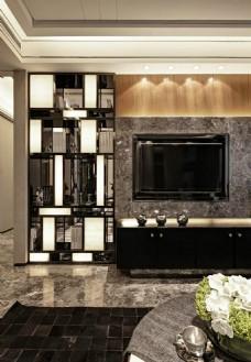 现代客厅石材背景墙效果图