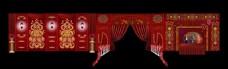 红金色欧式花纹连体展示签到婚礼效果图