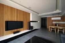 北欧客厅木质背景墙效果图