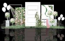 小清新白绿色婚礼迎宾区效果图