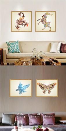 创意麋花鹿装饰画设计