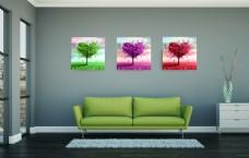 唯美爱心树客厅装饰画