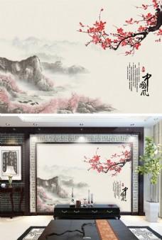 中国风梅花电视背景墙