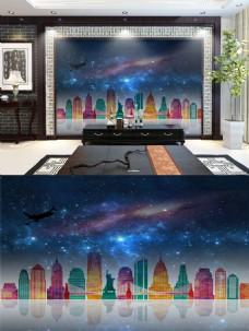 星空下的城市背景墙