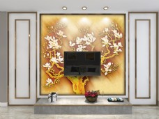 中式现代极简白色背景墙样机